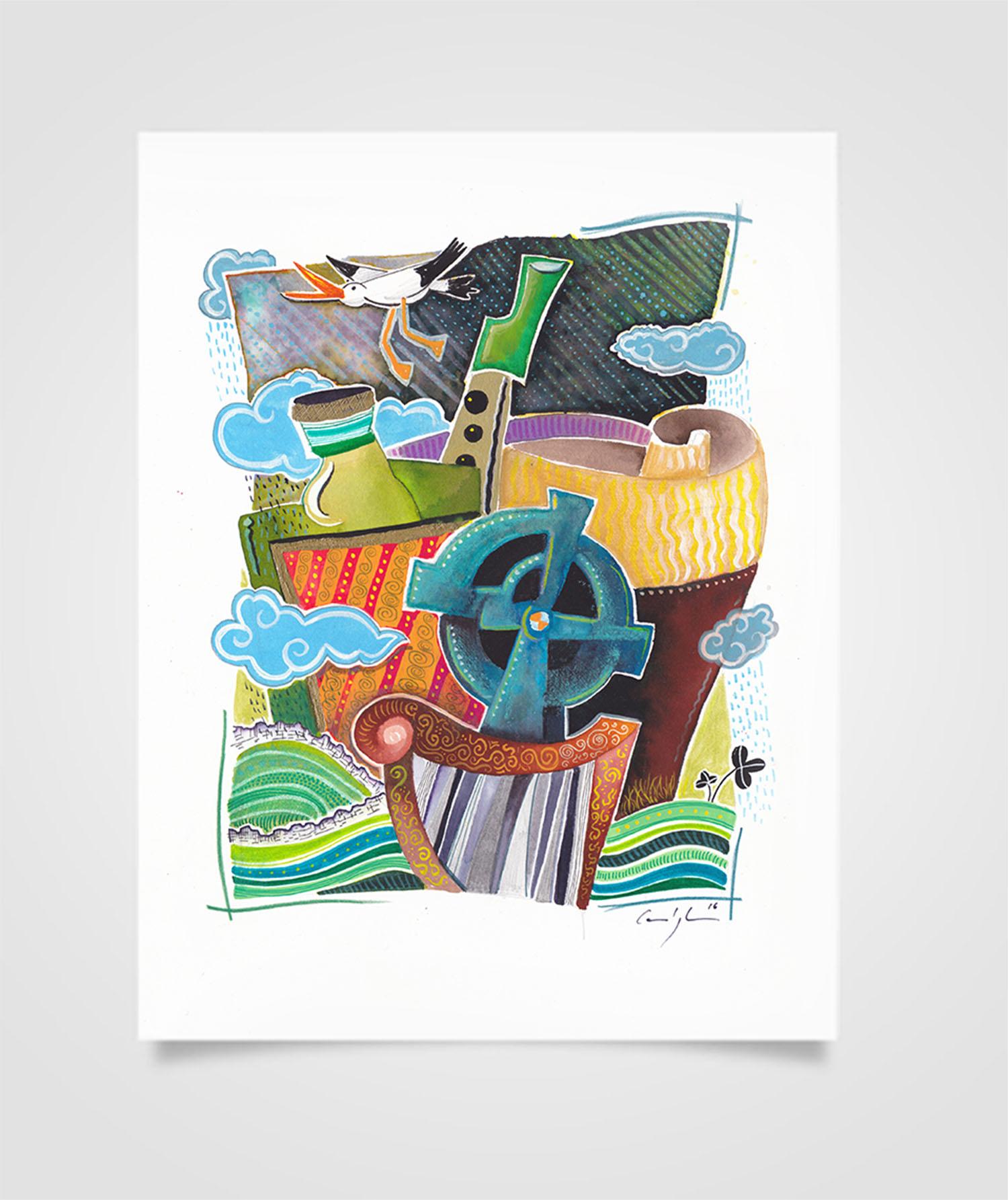 """""""Eire - Viaggio a Doolin"""" Tecniche miste su carta, 21 x 29,7 cm (2016)"""
