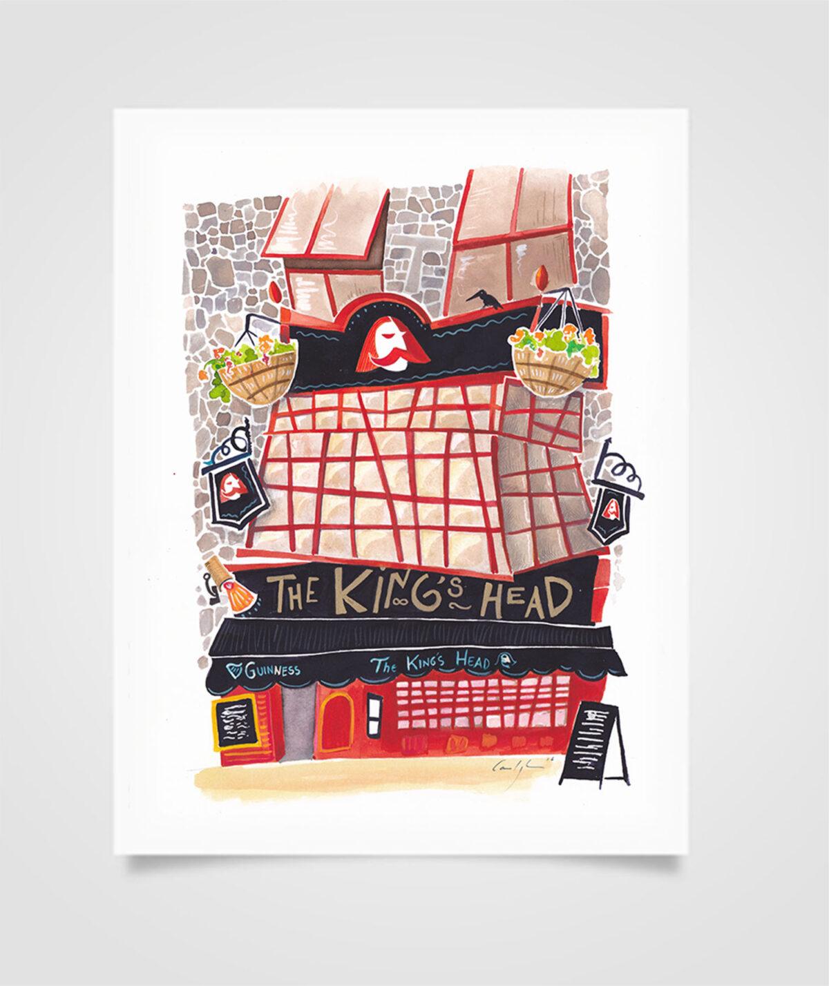 """Eire - The King's Head"" Tecniche miste su carta, 21 x 29,7 cm (2016)"