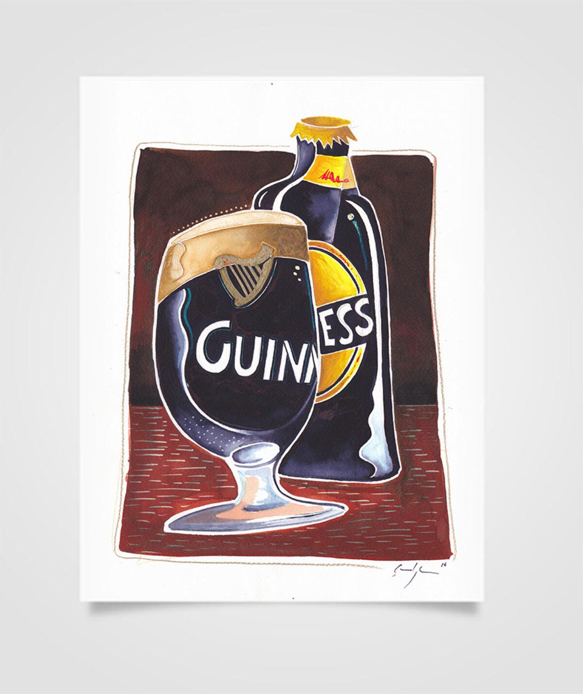 """""""Eire - Dark beer"""" Tecniche miste su carta, 21 x 29,7 cm (2016)"""