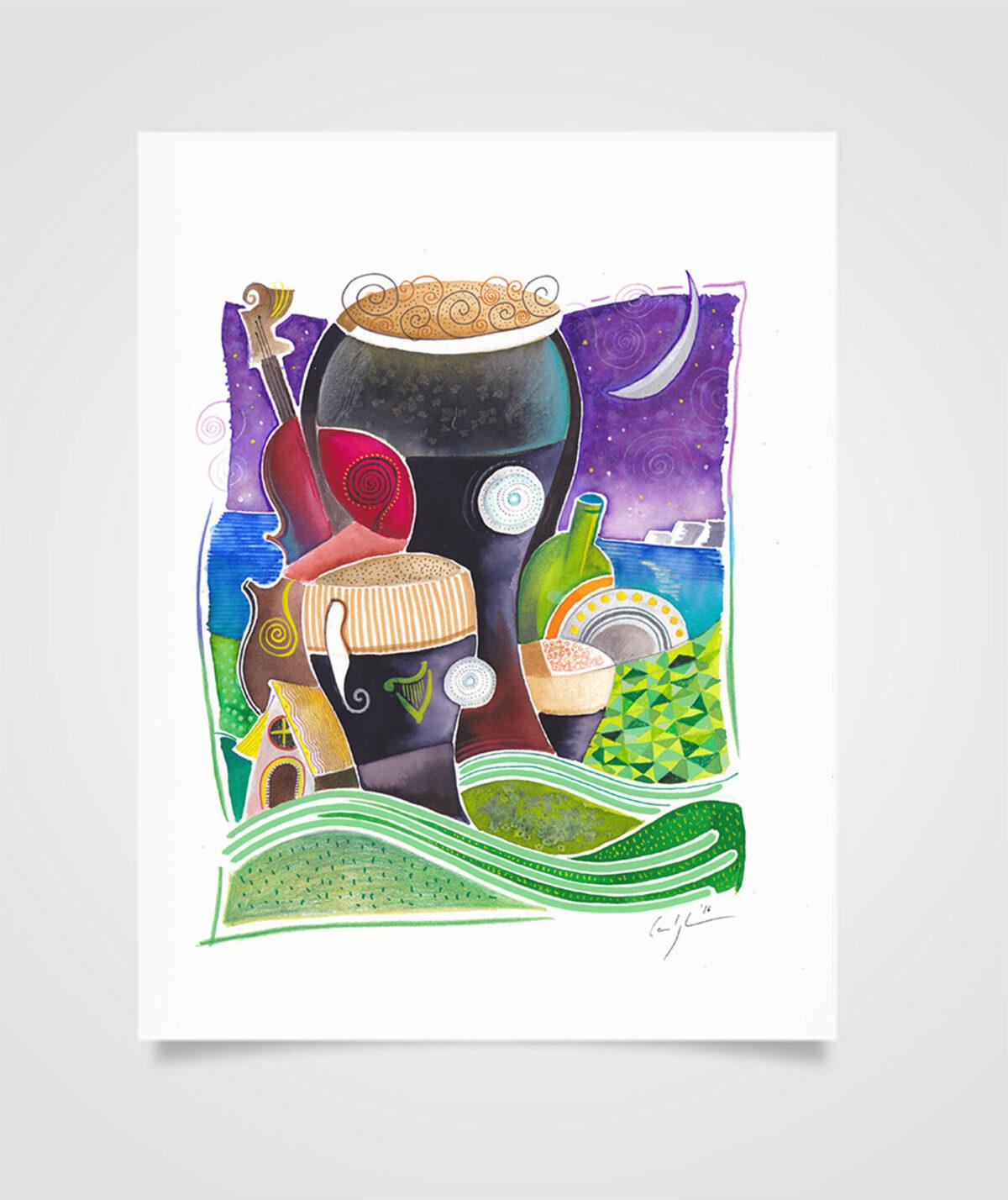 """Eire - About the Cliffs"" Tecniche miste su carta, 21 x 29,7 cm (2016)"