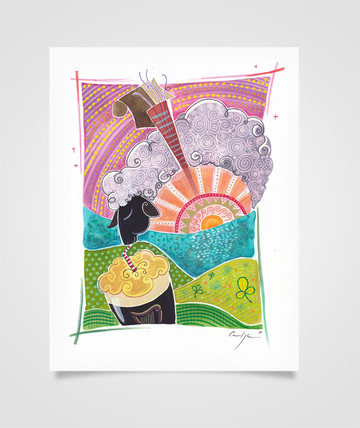 """""""Eire - Colazione sull'oceano"""" Tecniche miste su carta, 21 x 29,7 cm (2016)"""
