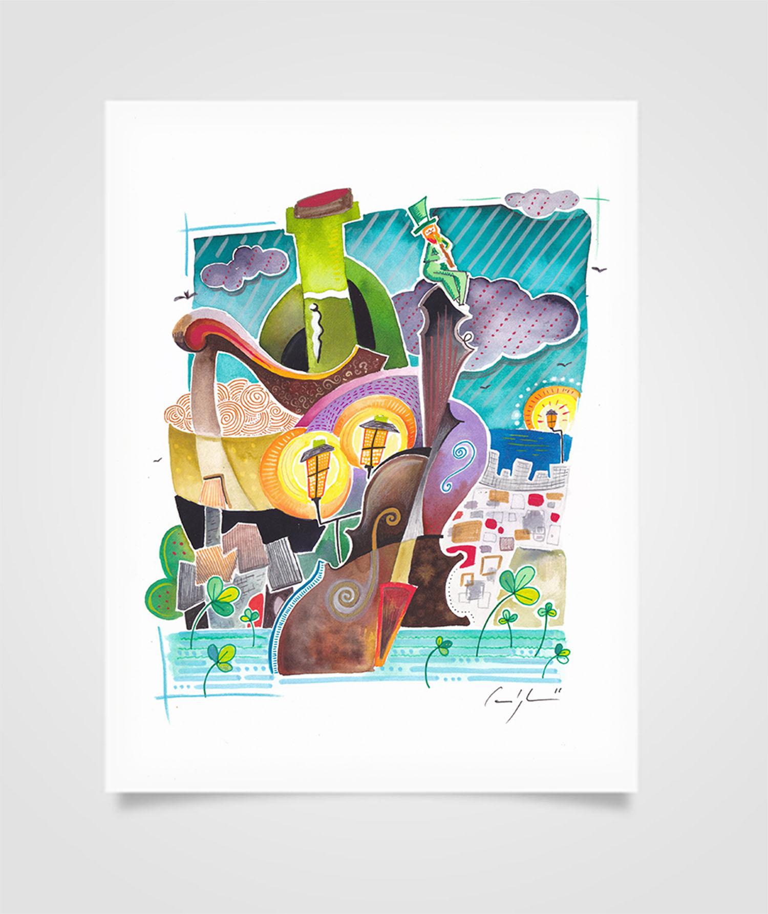 """Eire - Passeggiata a Galway"" Tecniche miste su carta, 21 x 29,7 cm (2016)"