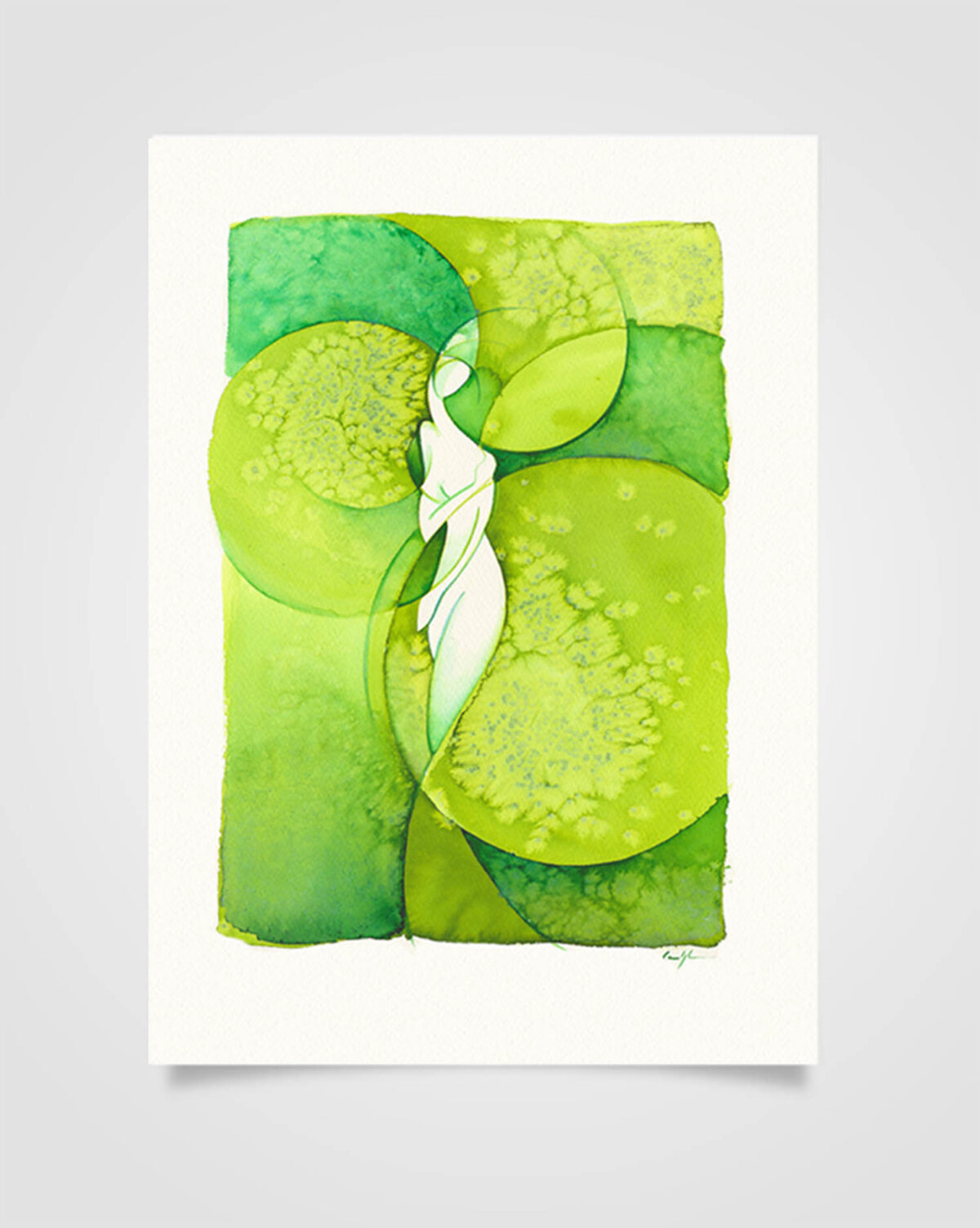 """Kundalini Verde"" Ecoline su carta (2016)"