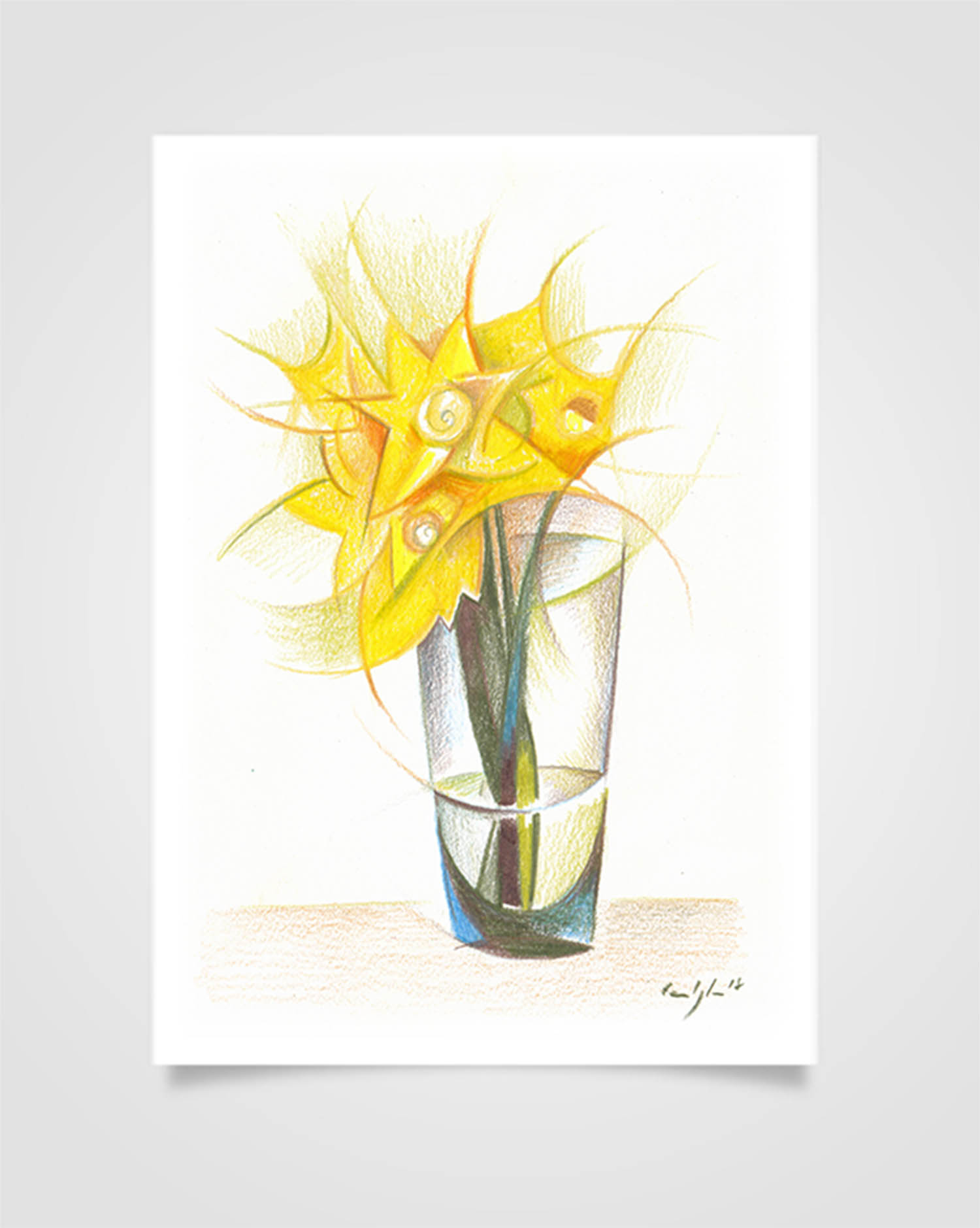 """Flora - Narcisi"" Pastelli su carta, 14,8 x 21cm"
