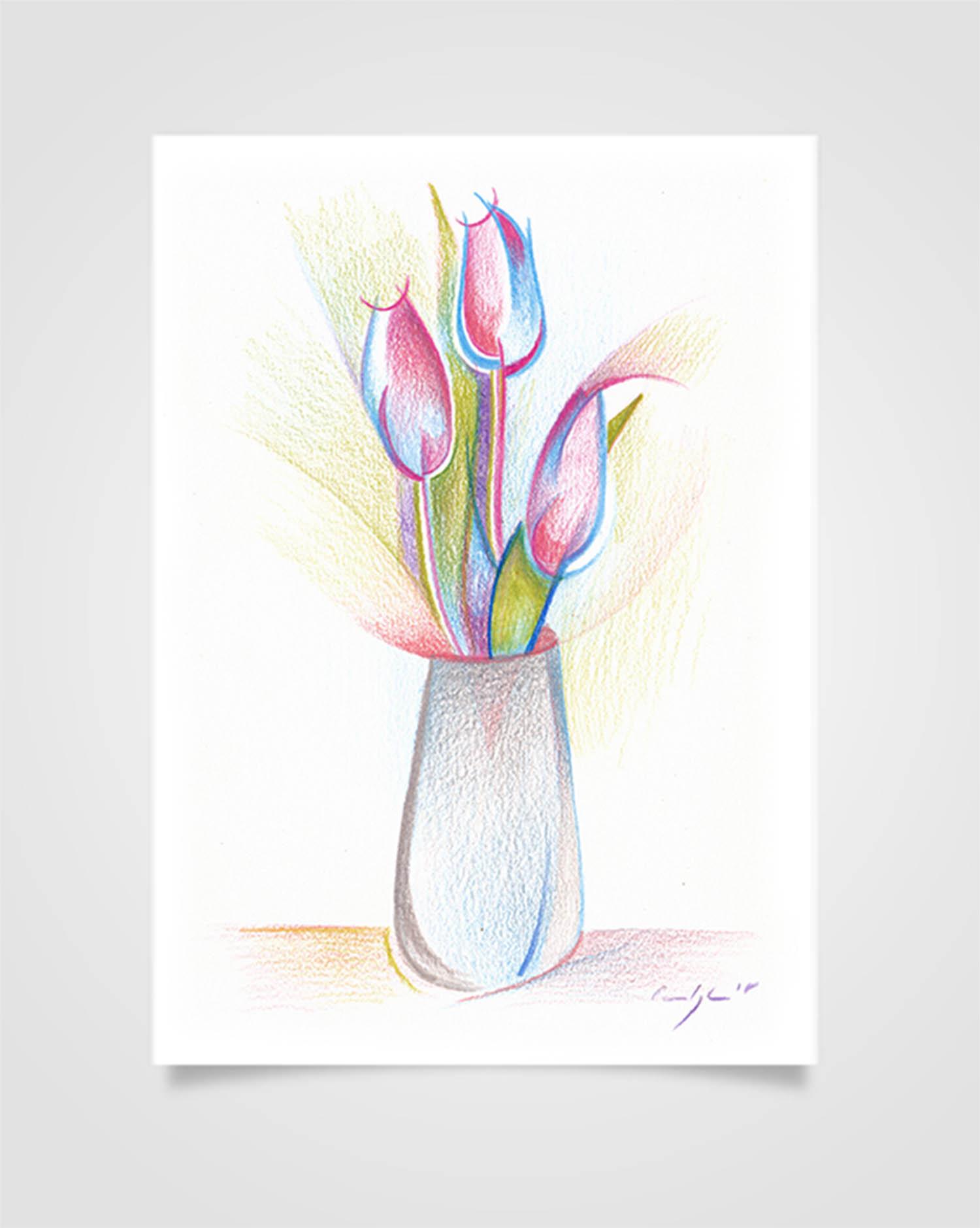 """""""Flora - Tulipani lilla"""" Pastelli su carta, 14,8 x 21cm"""