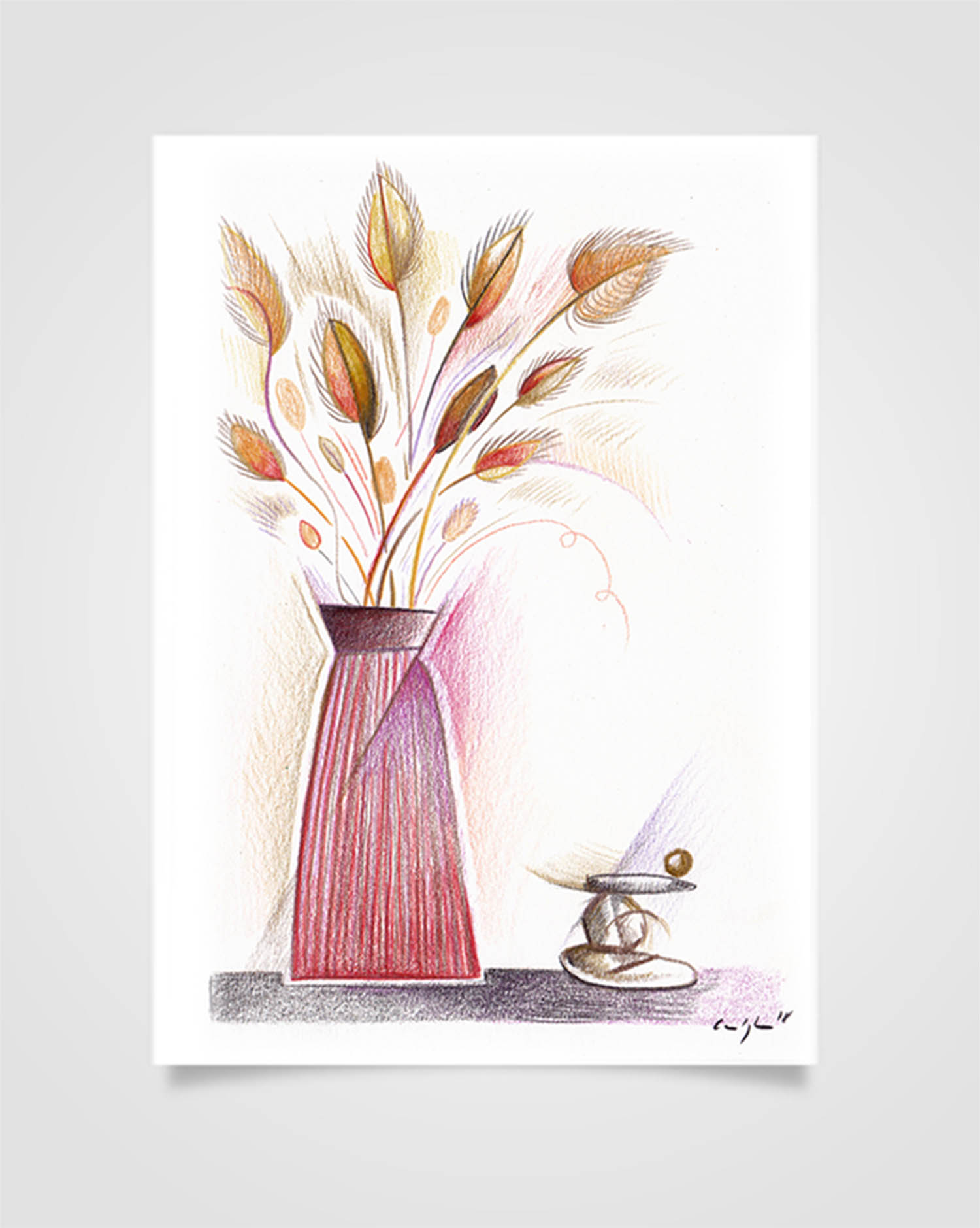 """Flora - Fiori secchi"" Pastelli su carta, 14,8 x 21cm"
