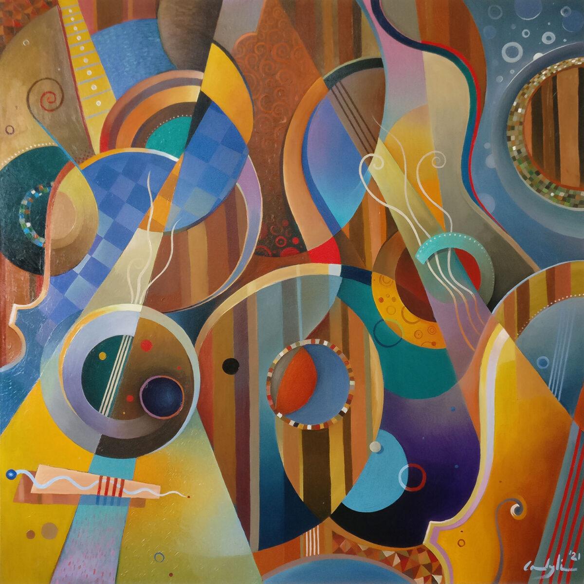 """Sinfonietta n.1"" - Olio su tela, 120 x 120 cm (2021)"