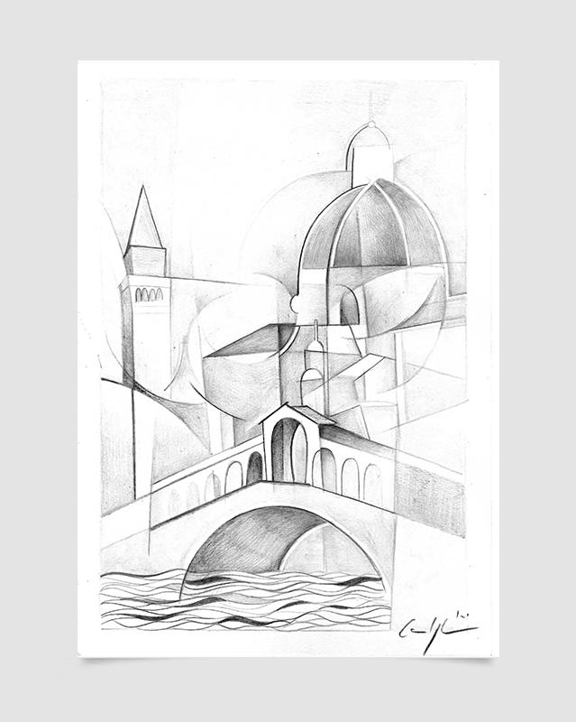 """""""Venezia - Il ponte di Rialto"""" Disegno a matita su carta (2021)"""